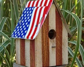 Birdhouse Stars and Stripes - Flag Birdhouse - Red White and Blue Birdhouse