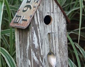 Birdhouse with Spoon - 100 year old wood