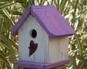 Birdhouse Shabby Chic Purple and White