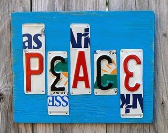 Peace - license plate art - turquoise
