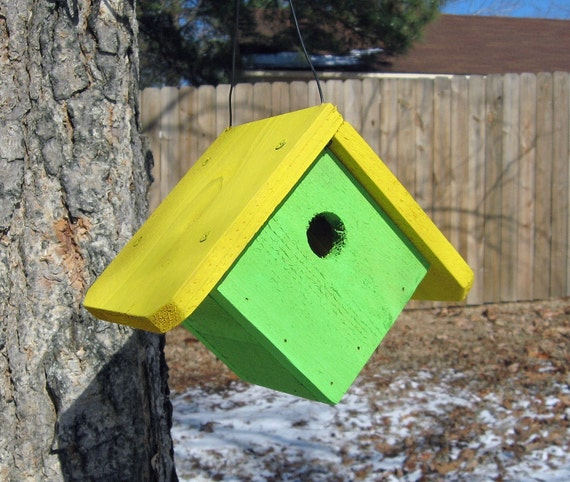 Birdhouse Lime Green and Yellow Wren House