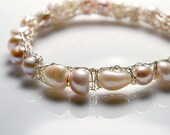 Crocheted Sterling Silver Wire Bangle Bracelet with Mixed White and Creamy Fresh Water Pearls MADE TO ORDER