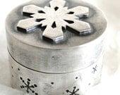 Snowflake Trinket Box - Sterling Silver