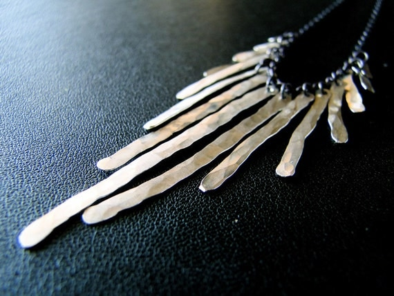 Metallic - Sterling Fringe Necklace
