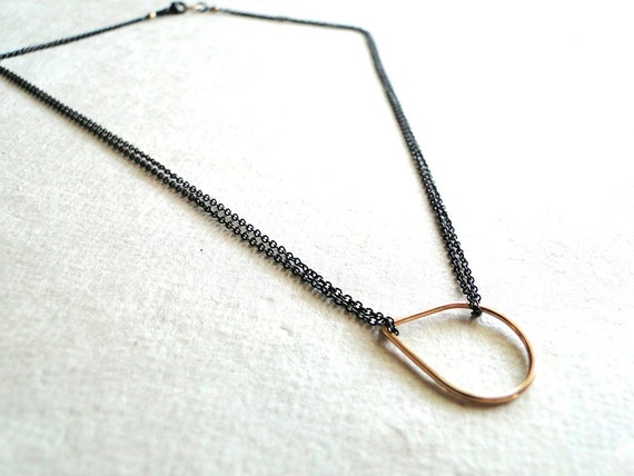 Floating Drop Necklace - Black and Gold