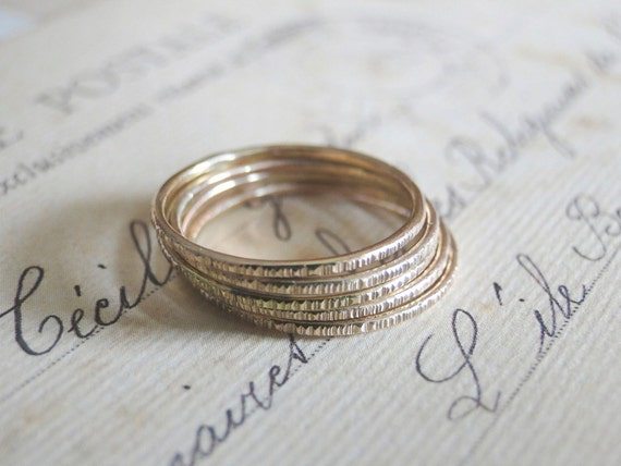 Gold Stacking Rings - Set of 5