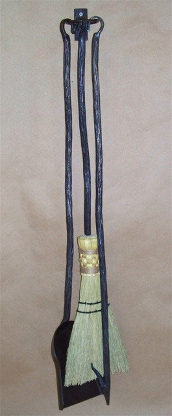 Hand Forged Wrought Iron Fireplace Tool set-w/vine texture