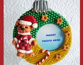 Christmas Bear Photo Ornament and Stand
