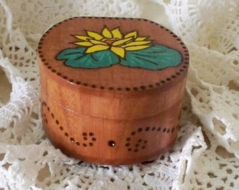 Trinket Jewelry Box Wood Water Lily