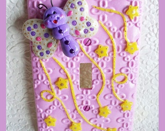 Childrens Light Switch Plate Pink