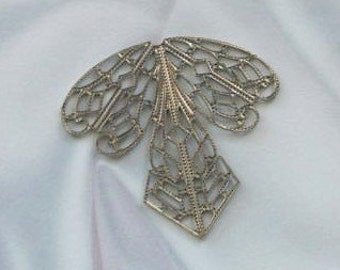 ANtique SIlver Filigree 1 pair  for Wrapping around Stones or pendants etc  9040
