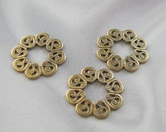 Antique Gold Finish Filigree Rings style stampings 6488 AGP