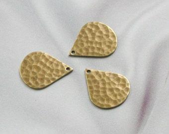 Antique Gold Finish Hammered Tear Drops