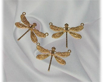 Dragonfly Raw Brass Stampings 2 holes medium  -6-  07564-2r
