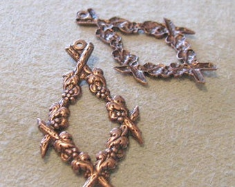 Grapes on the Vine Drops IN Antique Copper Brass Stamping