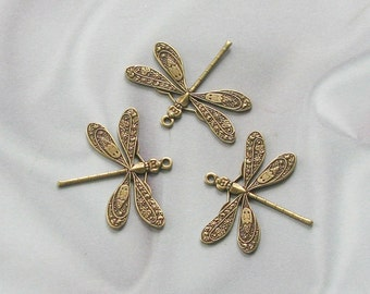 Antique Gold Finish Victorian Style Dragonfly Charm Findings 1 Hole Medium