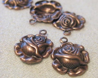 Antique Copper FINISH ROSE 1 RING Dangles