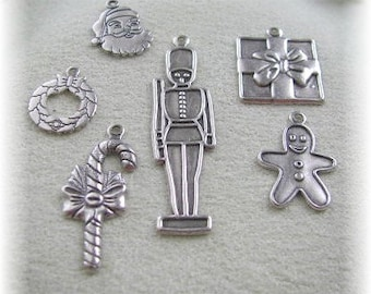6 Silver Plated Holiday Charms for Bracelets or any Holiday Gift