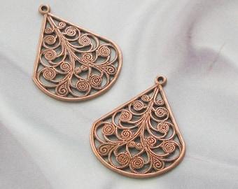 Large Size Copper Finish Filigree Drops 06263 acp