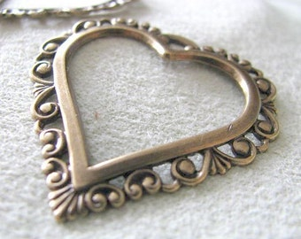 Antique Gold Finish Brass Filigree Heart  06817 AGP