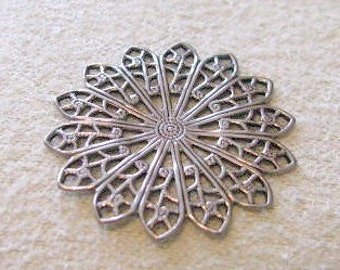 Antique Silver Finish Filigree Brass Stamping  6795 sp