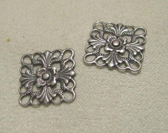 Antique Silver Finish Filigree Squares