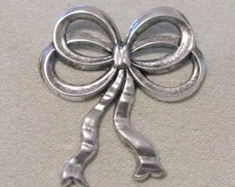 Silver Ox Finish Stamping  Loop Bows 1 pair