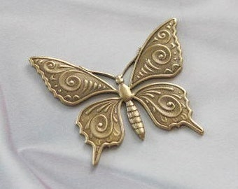 Antique Gold Finish Brass High Detail  Butterfly Stamping