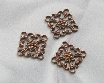 VINTAGE Copper Finish STAMPINGS Filigree Squares