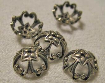 Antique Gold finish Filigree Bead caps