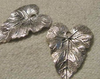 Matte Silver  OX FINISH Veined Leaves Small size