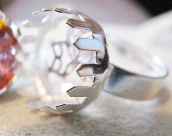 Silver Plated Adjustable Ring setting -5-