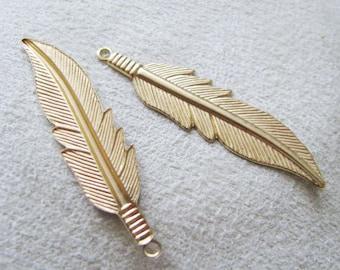 LARGE Raw Brass  Finish Feathers