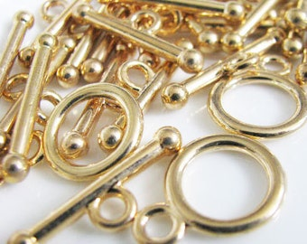 Gold Tone Finish Toggle Clasp 5 sets
