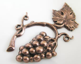 Copper Finished Vine and grapes Stamping with 2 rings