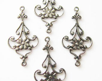ANTIQUE Silver Finish Medium Size Drops   06872 asp