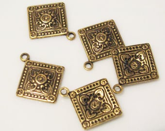 ANTIQUE Gold FINISH Square Drops