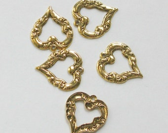 Antique Gold Heart Charm  10231