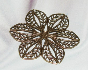 Beautiful Medium ANTIQUE GOLD FINISH Brass Filigree Stamping -1 Pair-