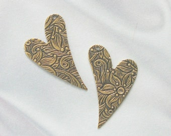 Trinity Antique Gold Floral Embossed Heart Drops 2 pair