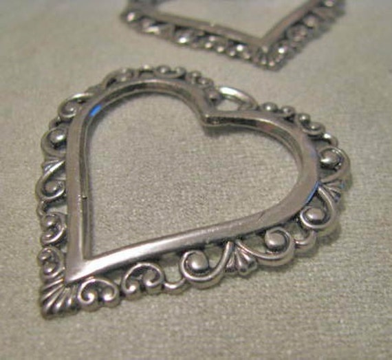 Antique Silver FINISH BRASS Filigree Heart  06817 asp