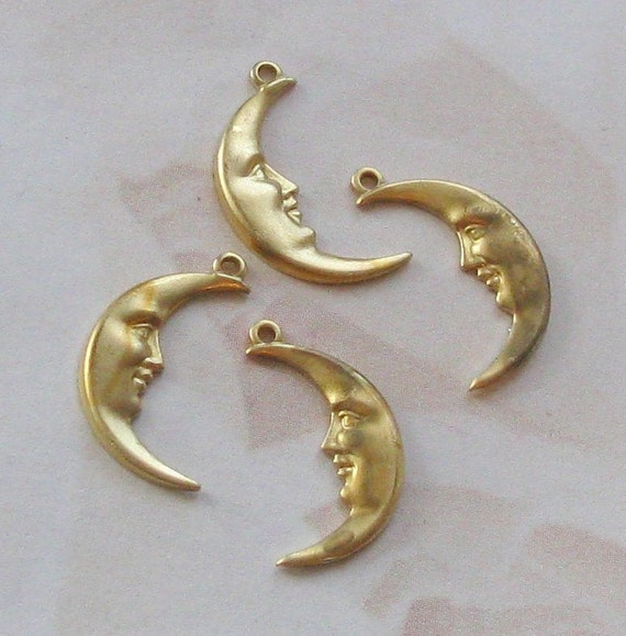 Raw Brass Half Moon Charms    07104-L&R