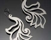 Annik Earrings - Large, bold Art Nouveau Peacock inspired designs, pierced stainless steel Typhoon Haiyan Survivor Fundraising Sale