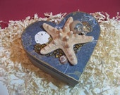 Starfish Simplicity- Wood Heart Keepsake Box