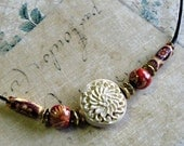 RESERVED FOR MARGARET H.---------Sweet Elyssa - Carved Cinnabar Flower Necklace