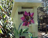 Wood Bird house with Recycled Soda Can Flower and Vines