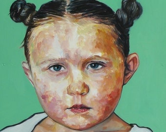 Child Portrait of a Girl- Original Oil Painting
