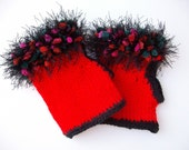 Boho Fingerless knitted Mittens - Gloves in Red great for texting