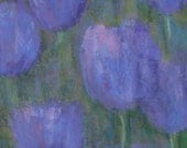 Purple Tulips - original pastel painting 6 x 6""