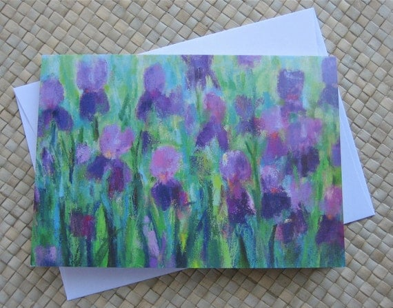 Iris note cards, Set of 8 cards with envelopes